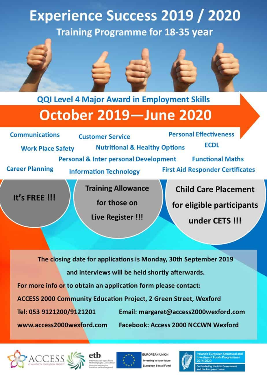 Access 2000 Wexford - Experience Success Programme 2019/2020